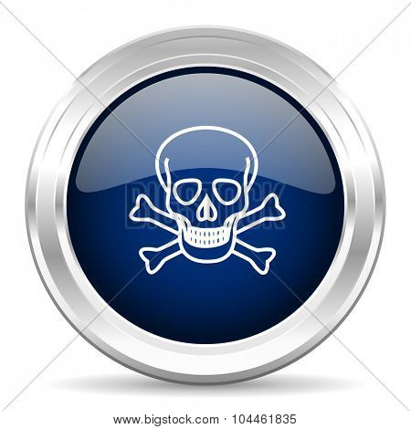 skull cirle glossy dark blue web icon on white background