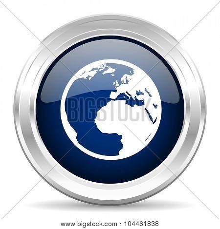 earth cirle glossy dark blue web icon on white background