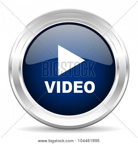 video cirle glossy dark blue web icon on white background