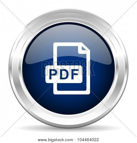 pdf file cirle glossy dark blue web icon on white background