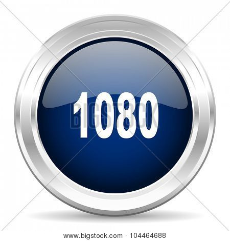1080 cirle glossy dark blue web icon on white background