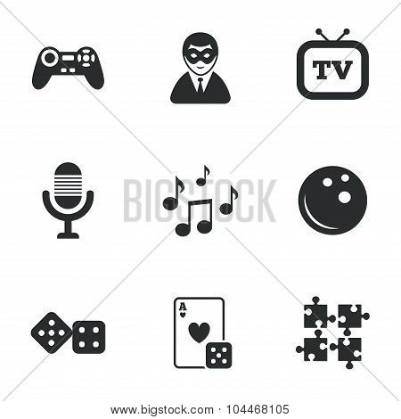 Entertainment icons. Game, bowling and puzzle.