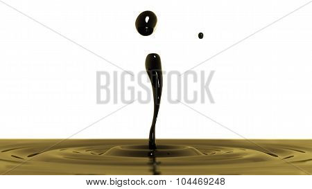 Drop Of Crude Oil Macro With The Focus Effect (side View On White Background)