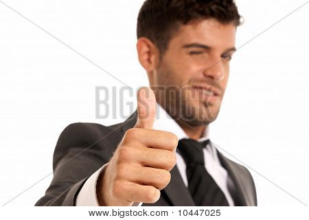 Young Businessman Ok Symbol Gesture, Close-up Isolated On White Background