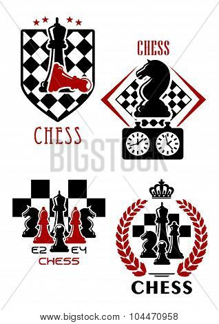 Chess game icons with chessmen and timer