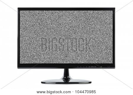 Noise on TV screen isolated on white background