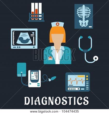 Medical diagnostic procedures flat icons