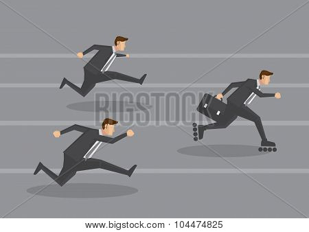 Business Executive On Fast Track Concept Vector Illustration