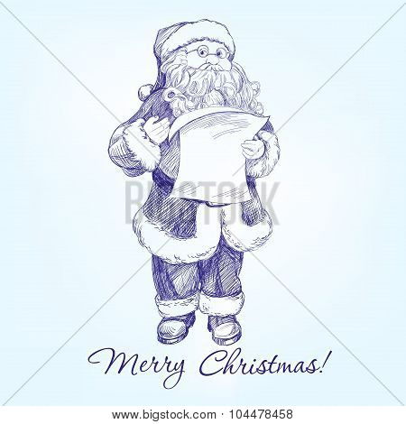 Santa Claus hand drawn vector llustration sketch