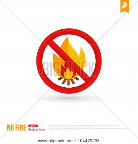 No bonfire vector colorful icon.