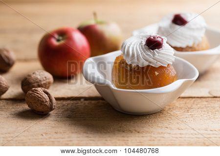 Walnut stuffed apples or tufahije, Bosnian dessert