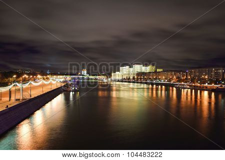 Crimean Embankment At Night,moscow,russia