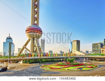 Shanghai, China- May 24,  2015: Oriental Pearl Tower On  Blue Sky Background. Tower 470 Meter The Or