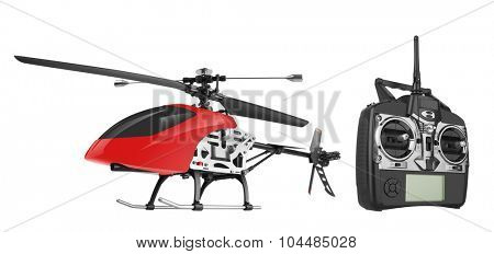 Remote controlled helicopter with controlling handset, isolated on white background poster