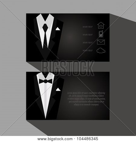 Eps10 Vector Black Business Cards With Elegant Suit And Tuxedo