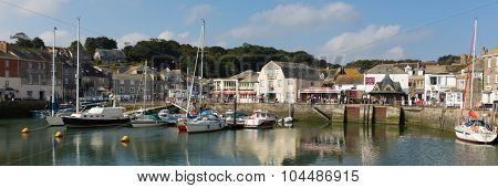 Padstow harbour North Cornwall England UK beautiful late summer sun panorama