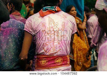 Devotee wearing printed shirts of Hindu God Idol.