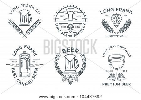 Line beer logo template. New. Stock vector.