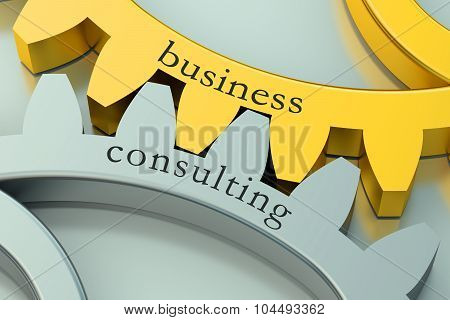 Business Consulting Concept On The Gearwheels