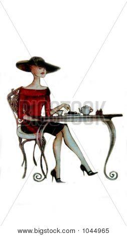 Woman  Having High Tea.