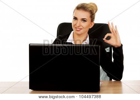 Young smile businesswoman behind the desk, using laptop.