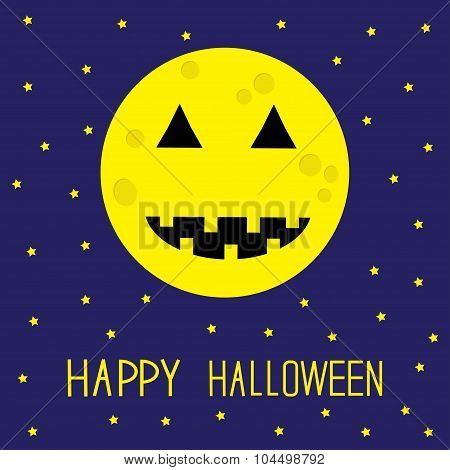 Starry Sky, Big Moon With Pumpkin Eyes And Mouth. Halloween Card. Flat Design