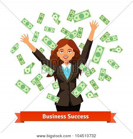 Woman throwing green dollar cash money in the air