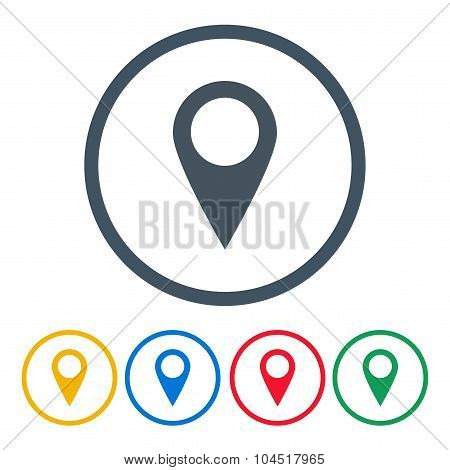 Set Pointers Icons For Map Different Color On A White Background. Stock Vector Illustration Eps10