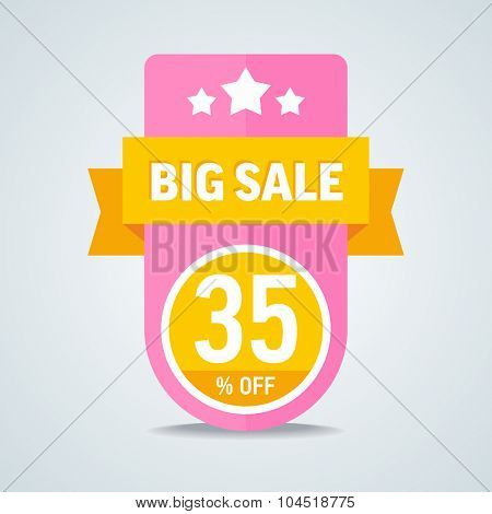 Big sale of 35 percent of the label with a yellow ribbon. Vector