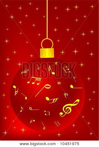 Red Christmas background with ball, snowflake and music notes