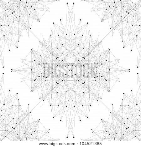 Futuristic seamless texture. Molecule and communication. Connected lines with dots. Vector illustrat