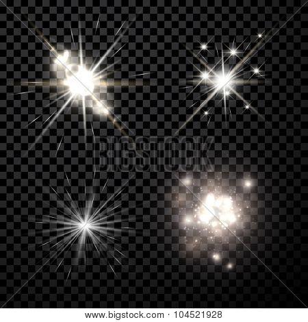 Stars black-white set isolated on black background. Vector Illustration.