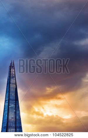 LONDON, UK - OCTOBER 09,2014: THE SHARD, the highest skyscraper in London, UK viewed at sunset light