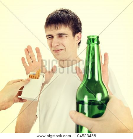 Young Man Disclaim Cigarette And Beer