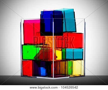 Colorful clear boxes back lit