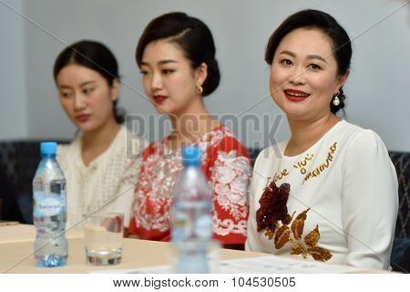 ST. PETERSBURG, RUSSIA - OCTOBER 6, 2015: Liu Chan (right) and soloists of Star Sopranos of China on the press conference in Philharmonic Hall. The event is part of the Festival of Chinese music