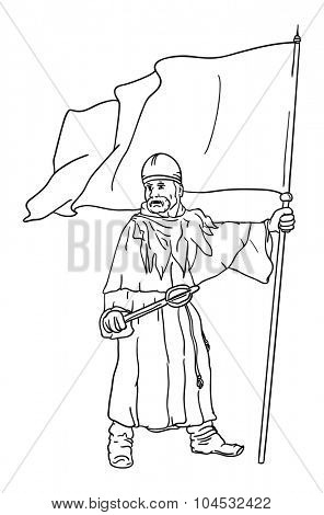 vector - Historic soldier with flag - isolated on background