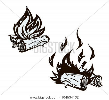 Vector poster with hand drawn bonfire set. Flame and firewood , burn,  fireplace  vector illustratio