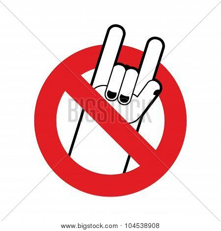 Stop Rock. Ban For Lovers Of Rock Music. Red Forbidding Character. Forbidden Rock Hand Sign.