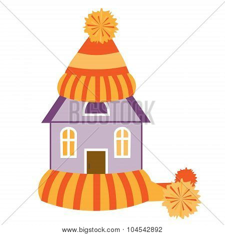 House in hat and scarf