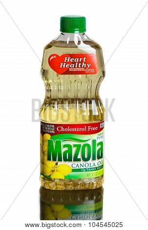 MIAMI, USA - February 9, 2015: Mazola Canola Oil Bottle.