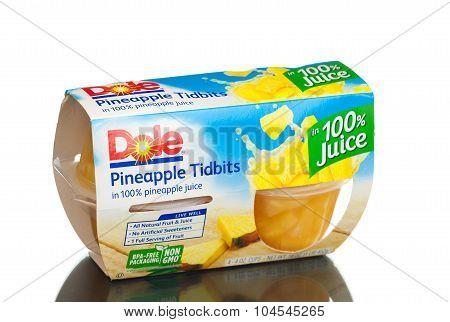 MIAMI, USA - February 9, 2015: Dole Pineapple Tidbits in 100% Pineapple Juice, 4 oz, 4 count.