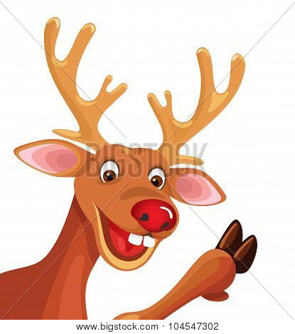 Happy Cartoon Rudolph Christmas Reindeer