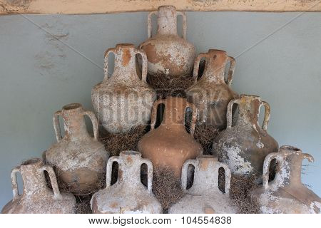 Antique jars and amphorae from the bottom of the Aegean Sea