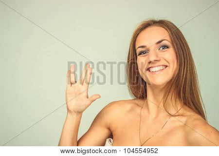 Beautiful Sexy Woman Posing And Smilling, Isoloated