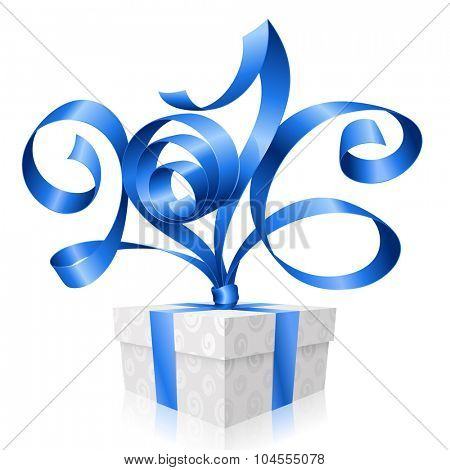 Vector blue ribbon and gift box. Symbol of New Year 2016