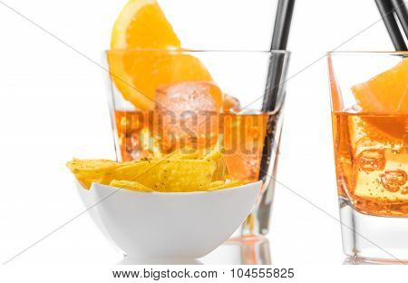 Hot Tacos Chips In Front Of Two Glasses Of Spritz Aperitif Aperol Cocktail With Orange Slices And Ic