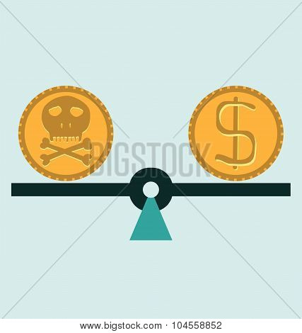 Gold coin with a skull and crossbones dollar. Symbol of pirates danger death Halloween. poster