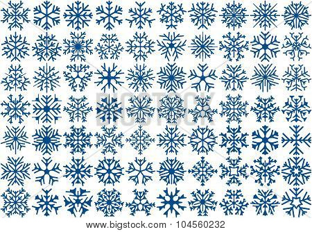 Set of 70 vector snowflakes