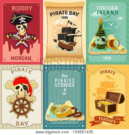 Pirate flat icons composition poster